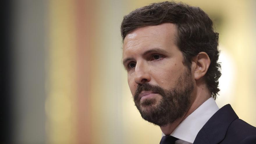El líder del PP, Pablo Casado, interviene en el Pleno del Congreso de los Diputados, a 30 de junio de 2021, en Madrid, (España).