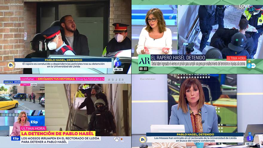Así ha mostrado la televisión la detención de Pablo Hasel en la Universidad de Lleida