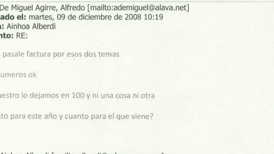 Correo desde la cuenta oficial de Alfredo de Miguel sobre el supuesto cobro de comisiones