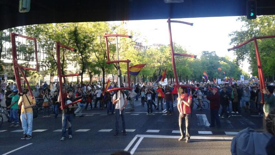 Un grupo de manifestantes durante la marcha de Madrid / Gabriela Sánchez
