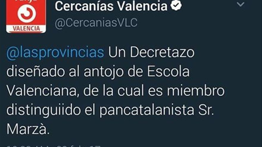 El tuit publicado desde la cuenta oficial de @CercaniasVLC contra Vicent Marzà