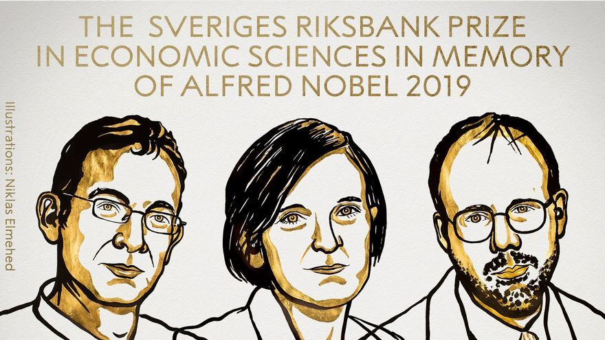 Abhijit Banerjee, Esther Duflo y Michael Kremer, ganadores del Nobel de Economía 2019.