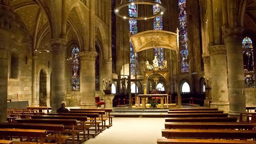 Interior de la Colegiata de Roncesvalles, una de las joyas del gótico en territorio navarro.