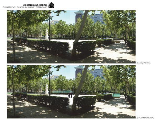 Fotomontaje del antes y el después de la instalación de la cristalera en la Plaza de la Villa de París | Imagen: Ministerio de Justicia