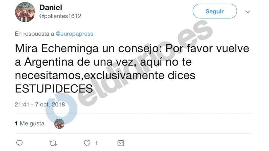 Tuit de Daniel Rodríguez sobre Pablo Echenique.
