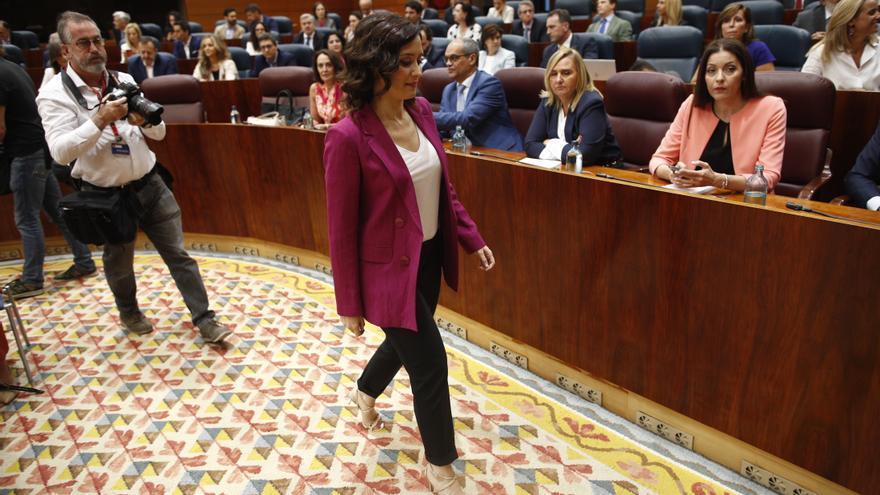 Isabel Díaz Ayuso, en el pleno de investidura sin candidato el pasado 10 de julio. / Europa Press