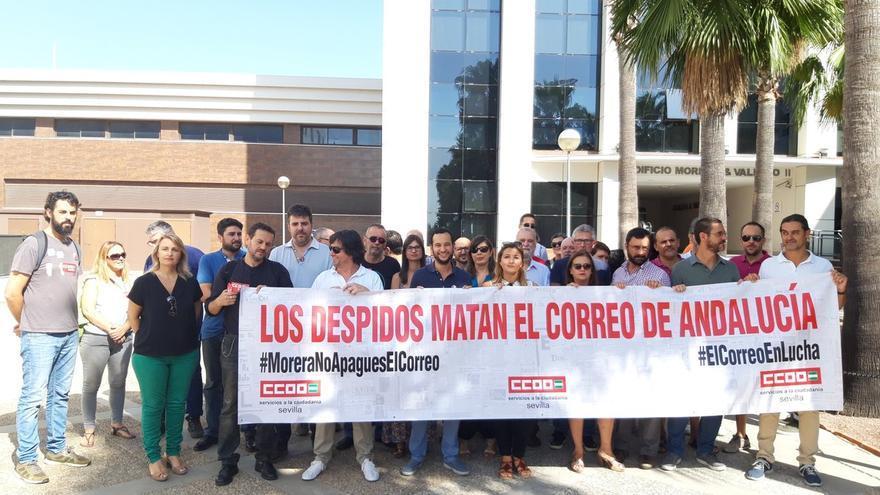 Trabajadores de El Correo, durante una reciente concentración de protesta