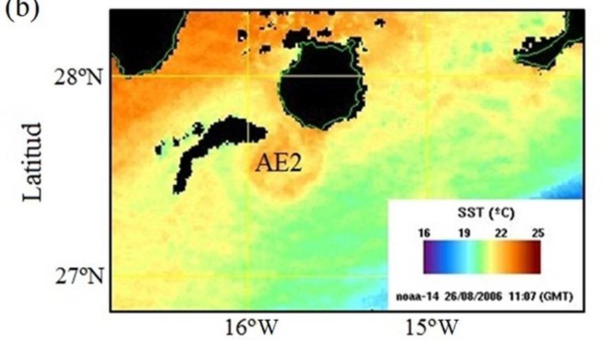 Imagen de la temperatura superficial del mar del 26/08/2006 mostrando la señal de un remolino anticiclónico (AE2) adherido a la costa SE de Gran Canaria. Procesada por la UTM-CSIC