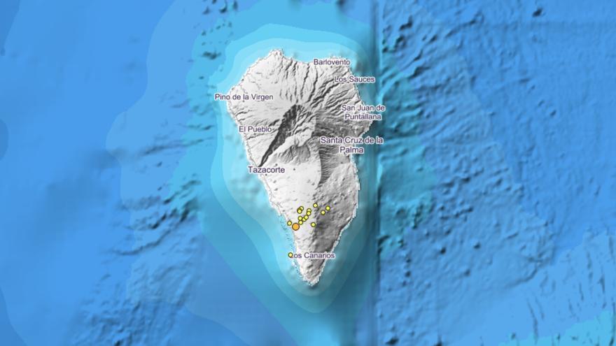 En la imagen, localización de los temblores del nuevo enjambre registrado en la dorsal sur de Cumbre Vieja.  Imagen: IGN.