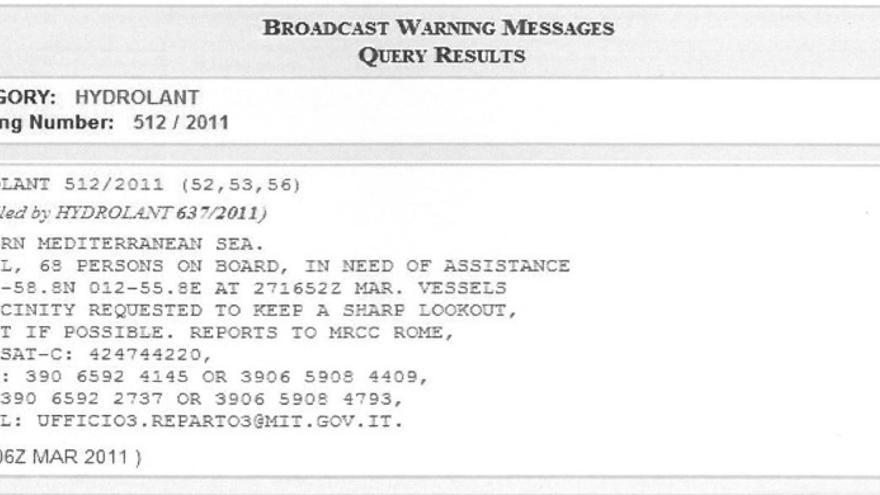 Segundo aviso desde el Centro de Coordinación de Salvamento Marítimo de Italia solicitando auxilio para la patera