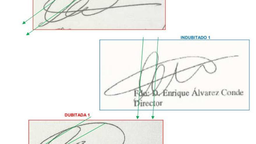 La firma de Enrique Álvarez Conde en el informe pericial encargado por eldiario.es.