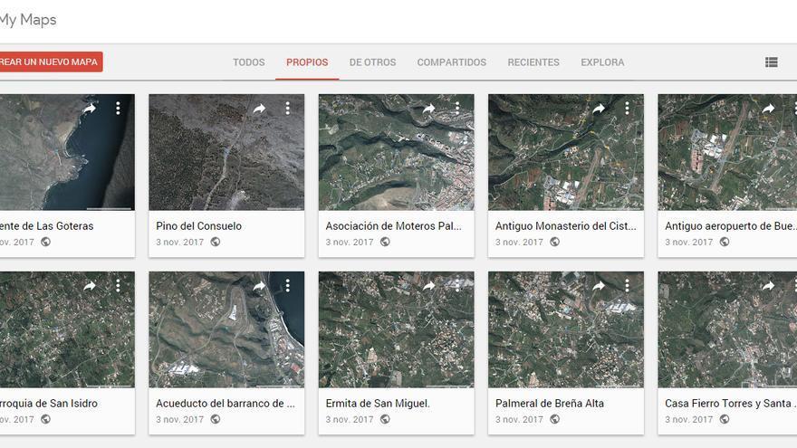 Imagen de algunos enclaves de La Palma en el servidor de mapas Google Maps.