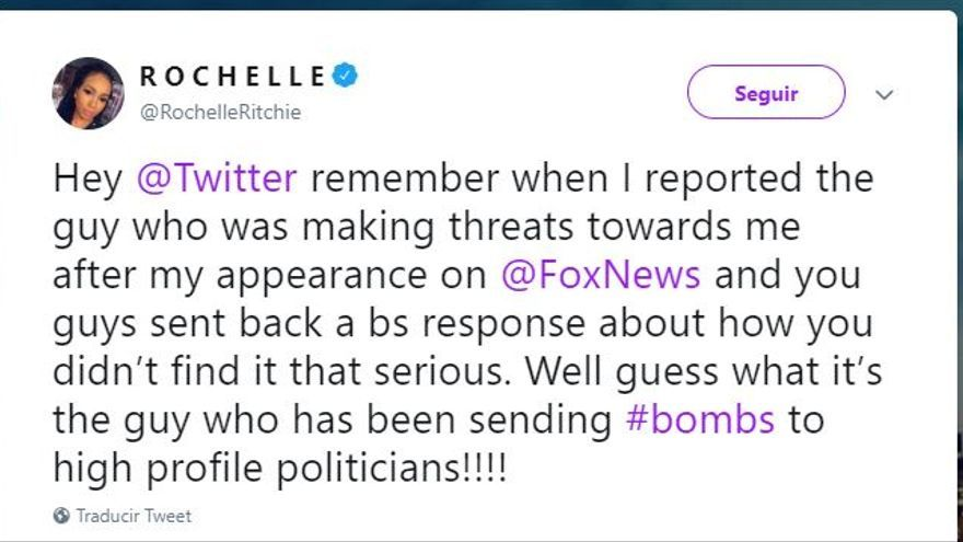 Captura de pantalla del tuit de Rochelle Ritchie