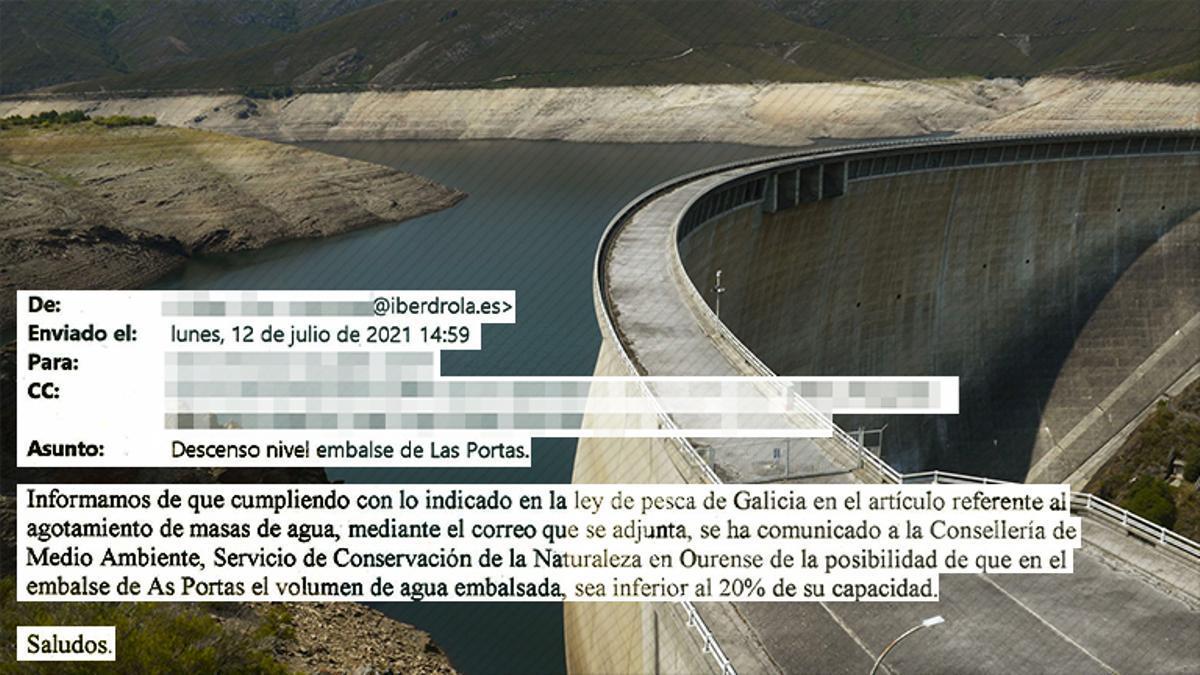 Embalse de As Portas, en el que se hizo un vaciado de agua coincidiendo con el encarecimiento del precio de la electricidad