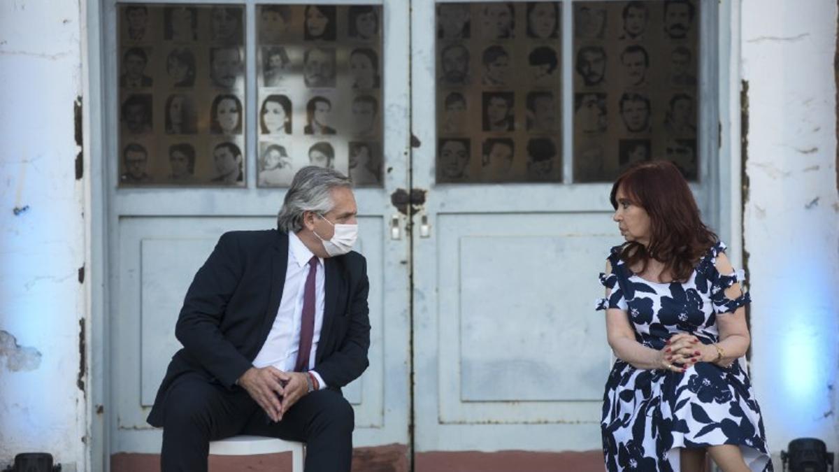 El presidente Alberto Fernández y la vicepresidenta Cristina Fernández comparten acto en la ex ESMA