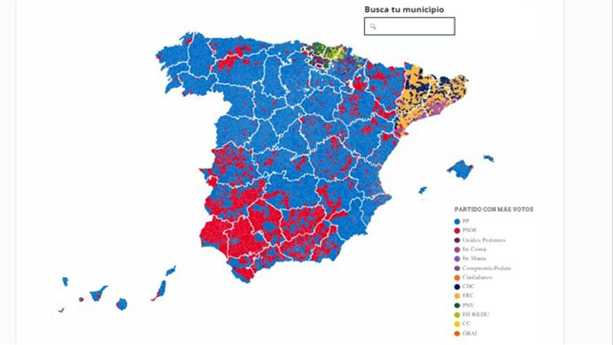 El color rojo socialista se concentra en el sur de España