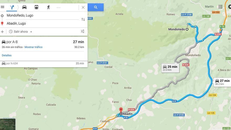 De Mondoñedo a Abadín por la A8   Google Maps