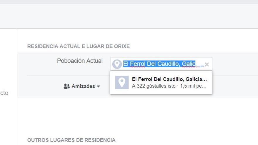Facebook todavía permite escoger como localización 'Ferrol del Caudillo', denominación que no existe desde 1982