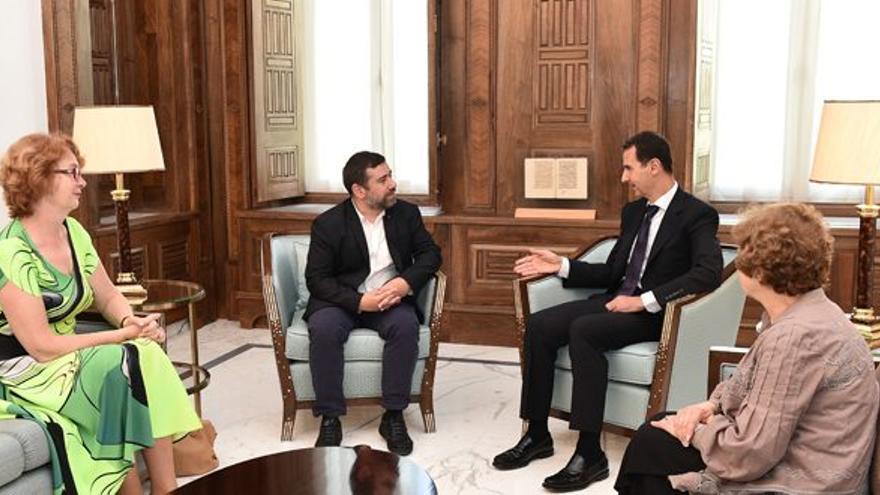 Reunión de Javier Couso y una delegación del Parlamento Europeo con el presidente sirio, Bashar Al Asad.