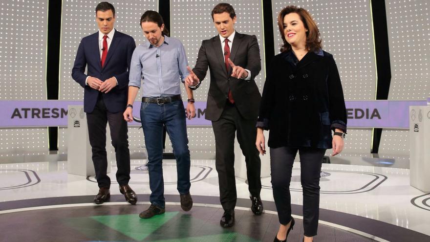 Pedro Sánchez, Pablo Iglesias, Albert Rivera y Soraya Saénz de Santamaría, en el debate de Atresmedia