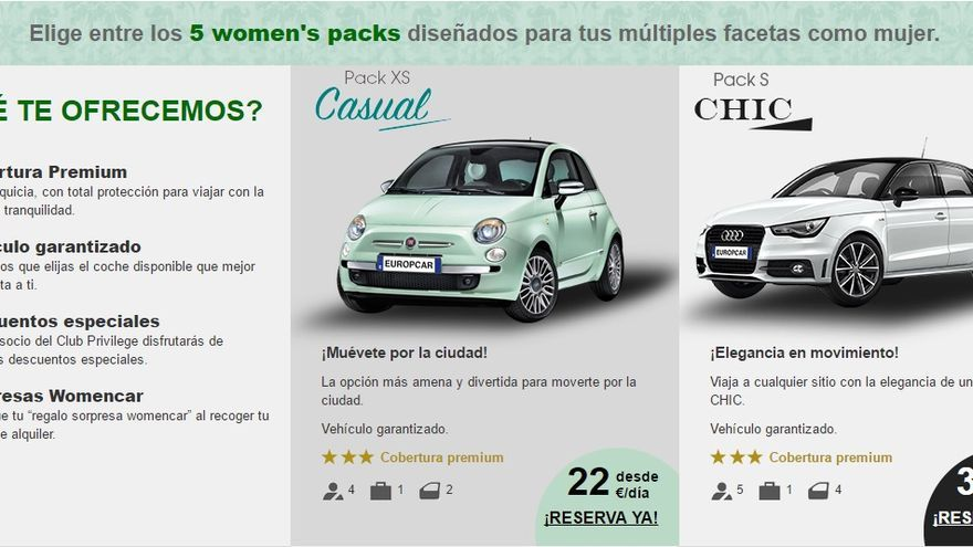 Web exclusiva del servicio WomenCar.
