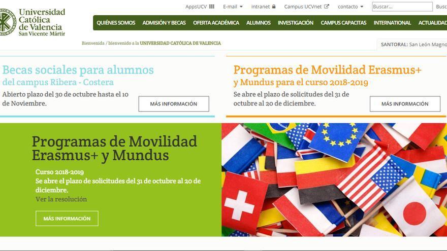 La página web de la Universidad Católica de Valencia