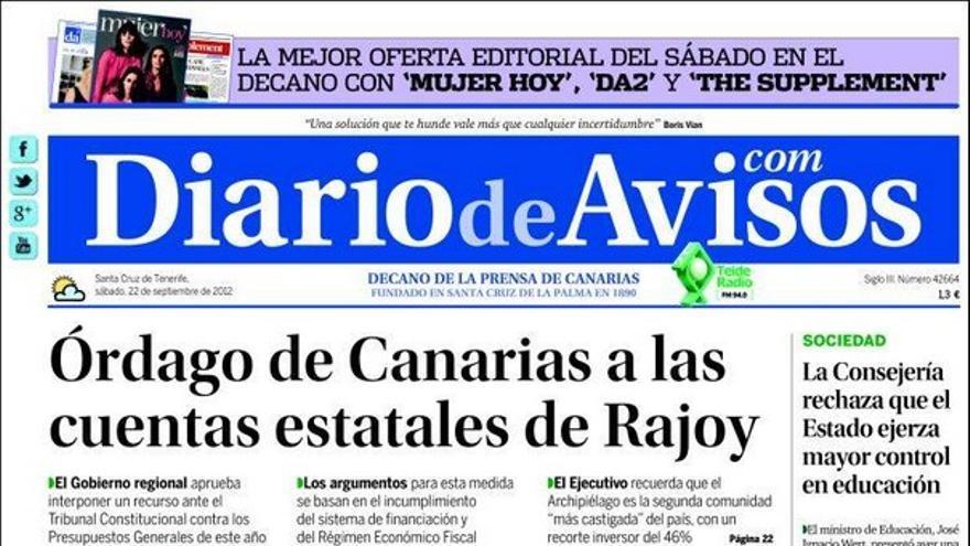 De las portadas del día (22/09/2012) #2