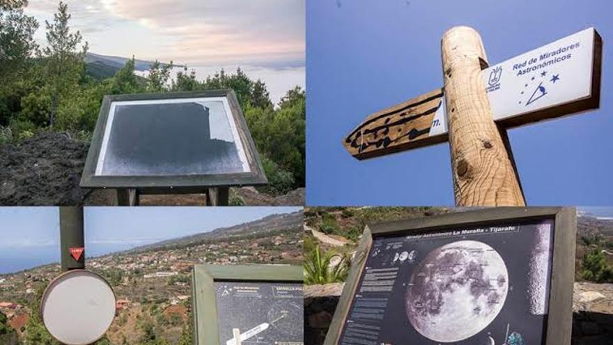 Collage donde se observan distintos miradores deteriorados por actos vandálicos y por las inclemencias. Collage: JOSÉ ANTONIO F. AROZENA