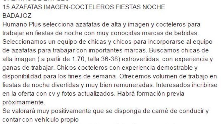 Anuncio sexista Badajoz Concejalía Juventud