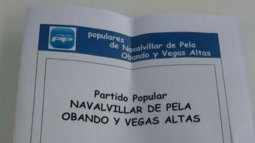 El boletín de partido, del PP de Navalvillar de Pela, que se editó con dinero municipal