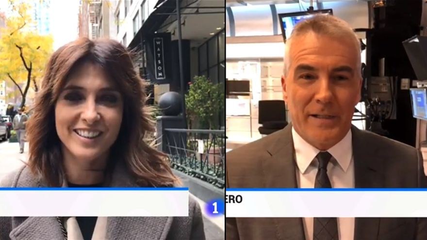Helena Resano y David Cantero, en el Telediario 2 de La 1