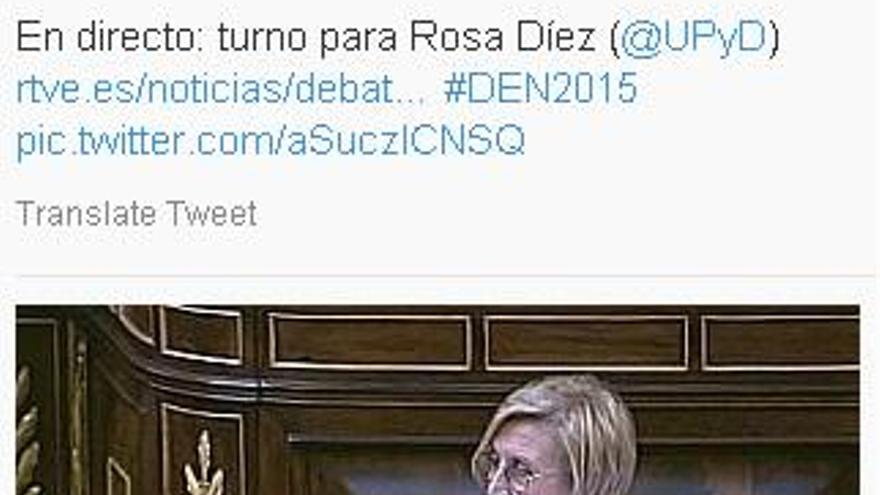 La portavoz de UPyD en el Congreso, Rosa Díez, sin el lazo naranja.