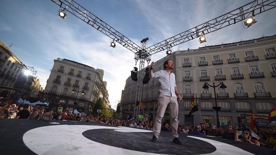 Pablo Iglesias, durante la concentración de apoyo a la moción de censura en Madrid