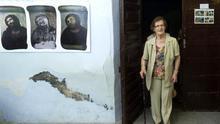 La 'restauradora' Cecilia Giménez en el Centro de Interpretación del eccehomo de Borja