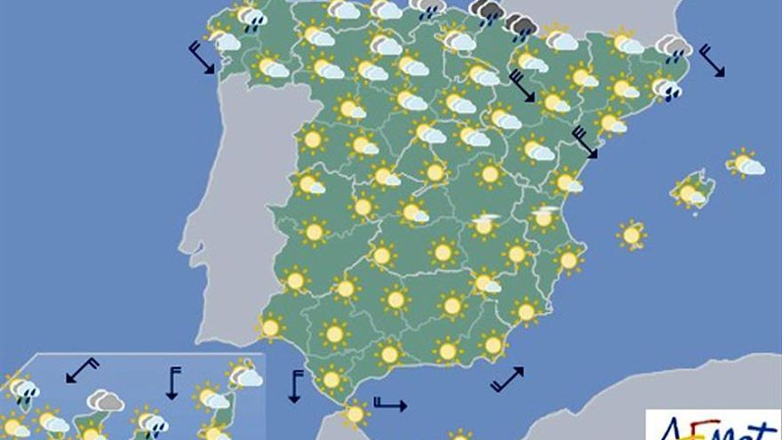 Viento fuerte en el valle del Ebro y nuboso en el norte de Península