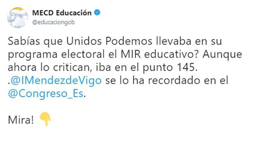 El Ministerio de Educación utiliza su cuenta de Twitter para criticar a Unidos Podemos por el MIR educativo