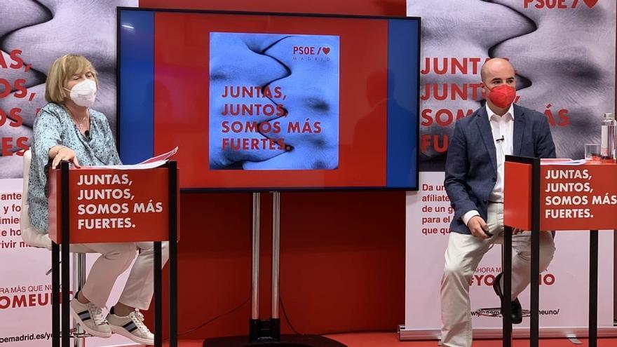 La presidenta de la gestora del PSOE-M, Isaura Leal, y el responsable de Organización de la formación, Fran Martín