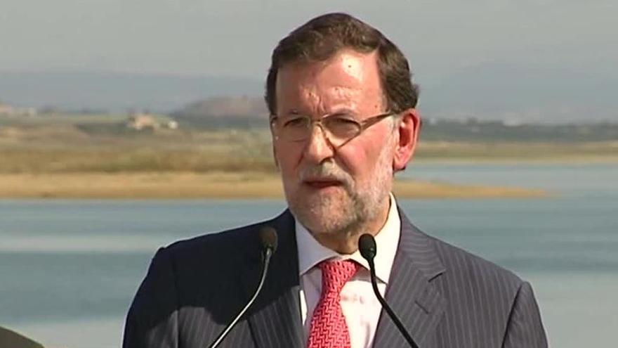 Rajoy durante la inauguración del pantano de San Salvador