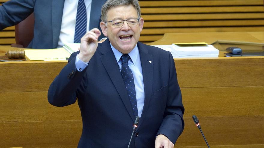 El president Ximo Puig interviene en el pleno de las Corts