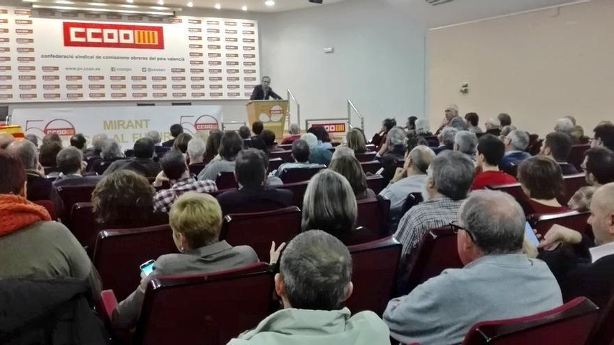Imagen del acto en la sede de CCOO PV en Valencia