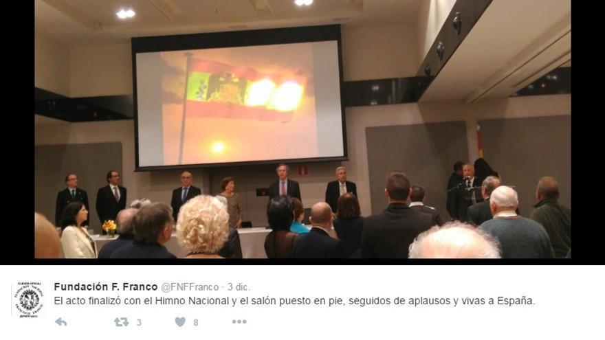 Un momento de la cena del pasado 2 de diciembre organizada por la Fundación Francisco Franco / @FNFFranco