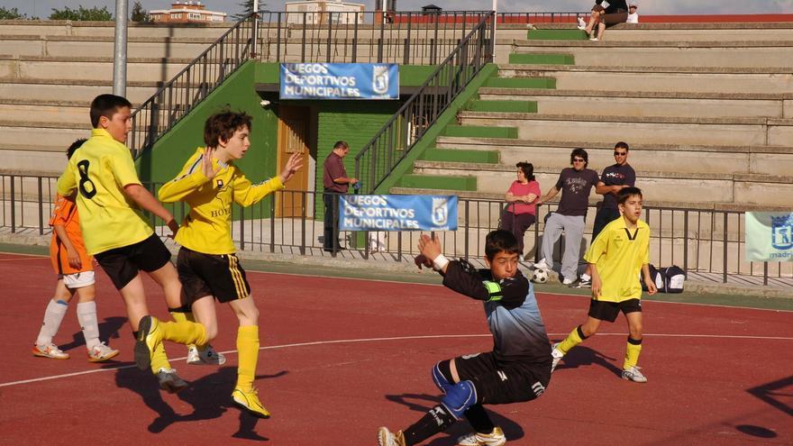 Un partido infantil de fútbol sala en Madrid