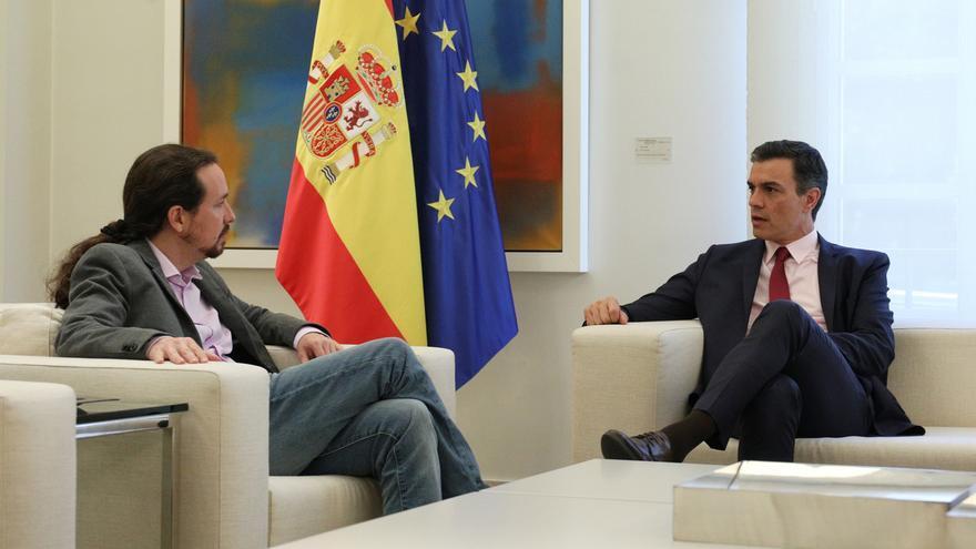 Pablo Iglesias y Pedro Sánchez durante uno de sus encuentros.