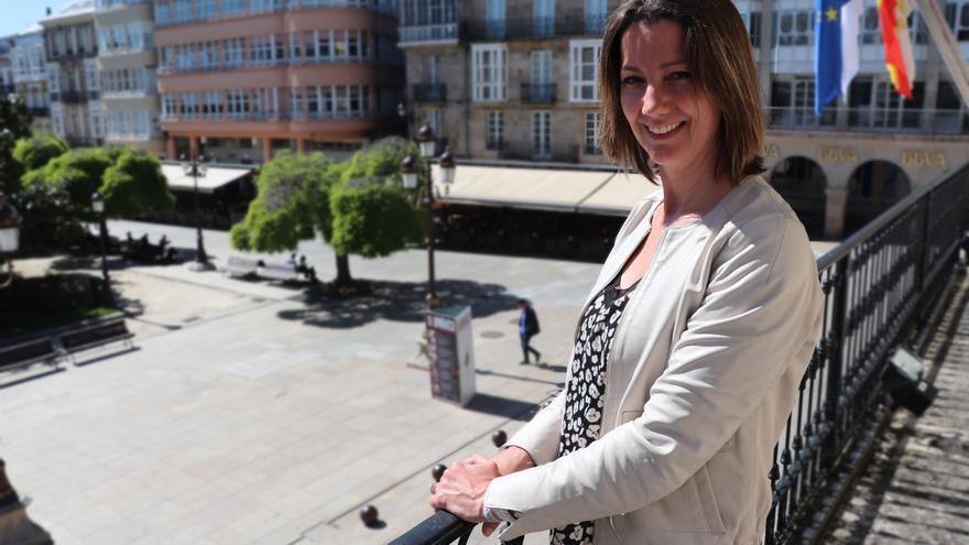 Lara Méndez, en la casa consistorial lucense durante la entrevista