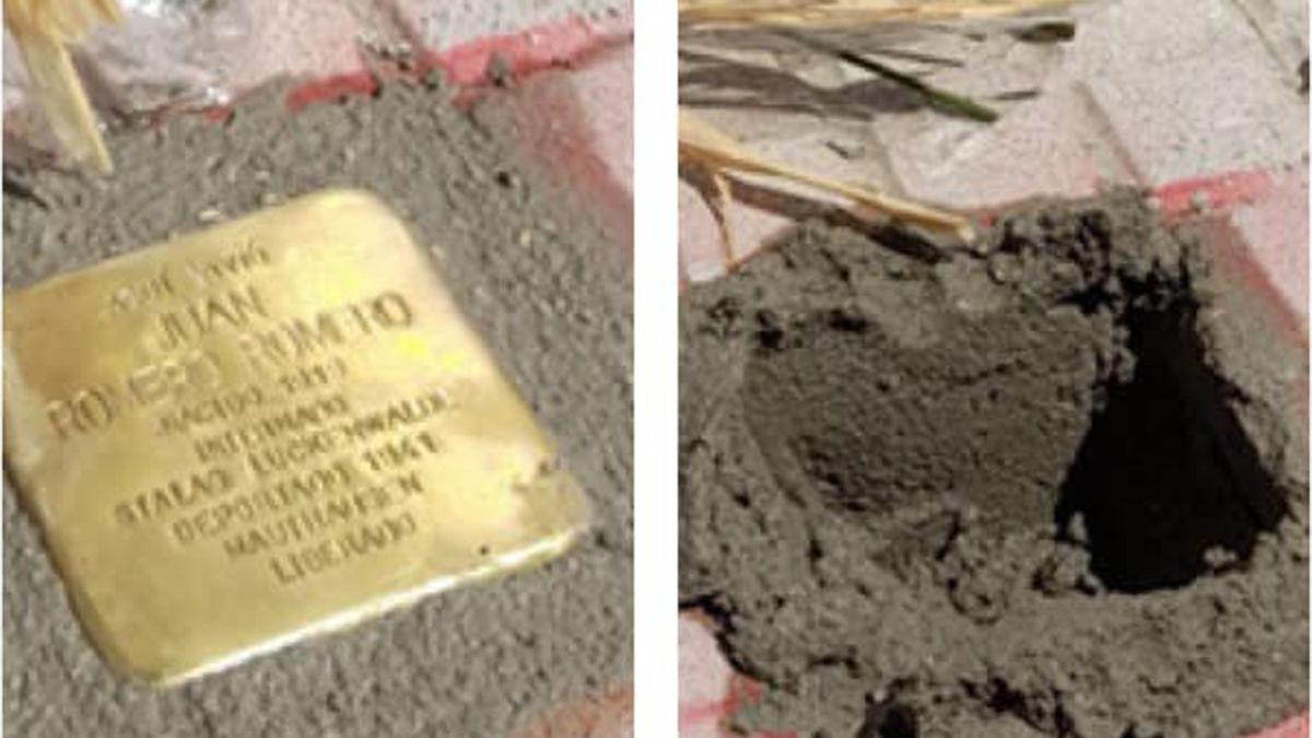 Piedra de la memoria de Juan Romero puesta en Torrecampo y hueco dejado al arrancarla.