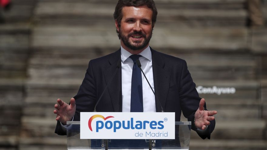 El líder del PP, Pablo Casado, interviene en la presentación de la candidatura del PP de Madrid para las elecciones a la Asamblea de Madrid