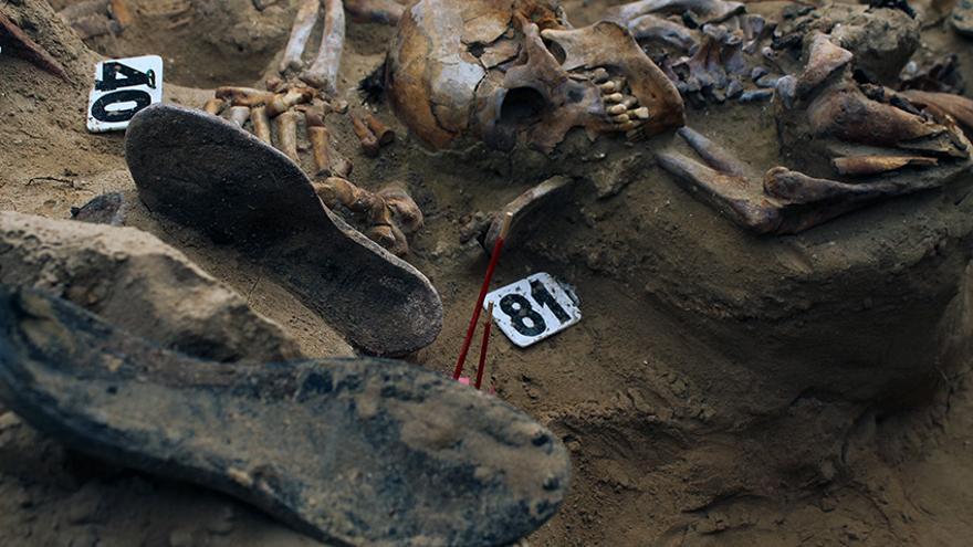 Restos óseos con evidencias de muerte violenta en la fosa de Puerto Real (Cádiz). | JUAN MIGUEL BAQUERO