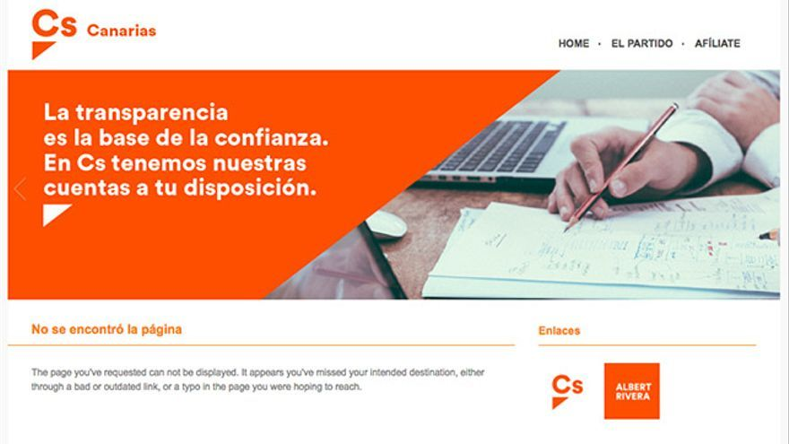 Captura de la página web de Ciudadanos con el enlace del comunicado contra los Bravo desactivado.