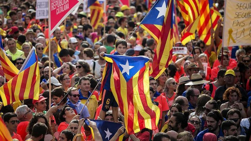 Imagen de la manifestación de la Diada