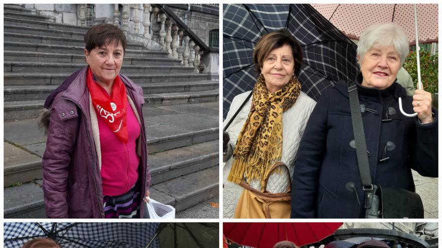 De arriba a abajo: Loli, Encarnación, Ángela, María Luisa, Juana y María Luisa junto a su marido